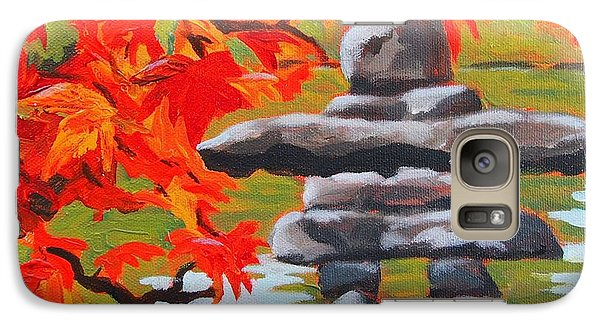 Galaxy Case featuring the painting Autumn Inukshuk by Janet McDonald