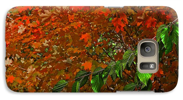 Galaxy Case featuring the photograph Autumn Leaves In Red And Green by Andy Lawless