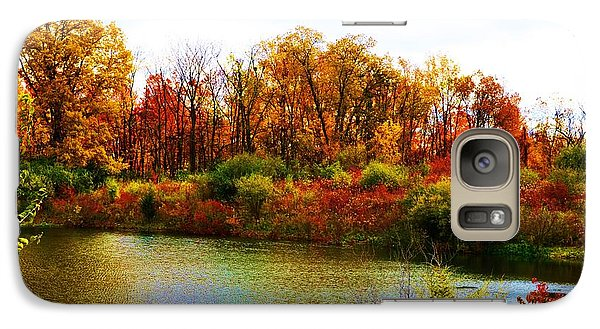 Galaxy Case featuring the pyrography Autumn Pond by P Dwain Morris