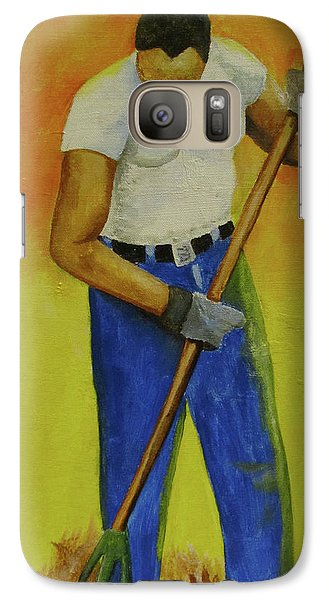Galaxy Case featuring the painting Autumn Raking by Thomas J Herring