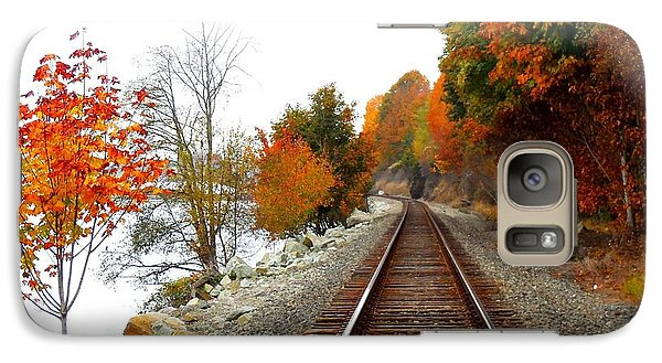 Galaxy Case featuring the photograph Autumn Train Tracks by Karen Molenaar Terrell