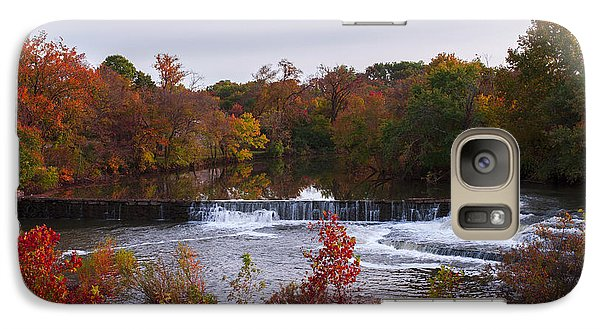 Galaxy Case featuring the photograph Refreshing Waterfalls Autumn Trees On The Stones River Tennessee by Jerry Cowart