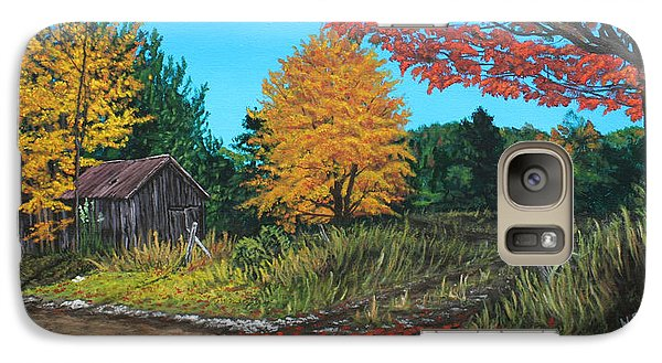 Galaxy Case featuring the painting Autumns Rustic Path by Wendy Shoults