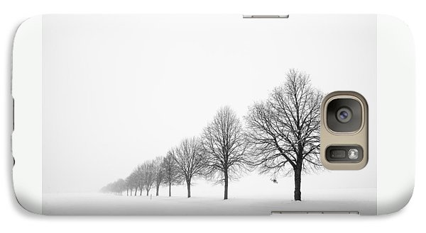 Avenue With Row Of Trees In Winter Galaxy S7 Case by Matthias Hauser