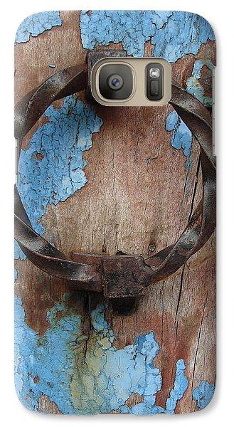 Galaxy Case featuring the photograph Avignon Door Knocker On Blue by Ramona Johnston