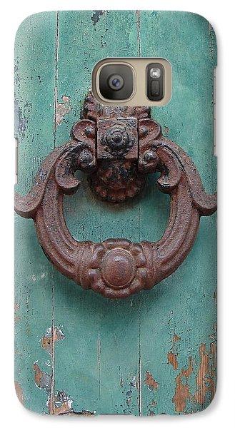 Galaxy Case featuring the photograph Avignon Door Knocker On Green by Ramona Johnston