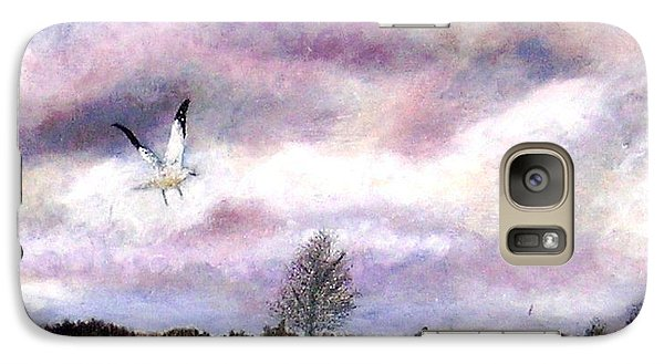 Galaxy Case featuring the painting Away From The Flock by Marie-Line Vasseur