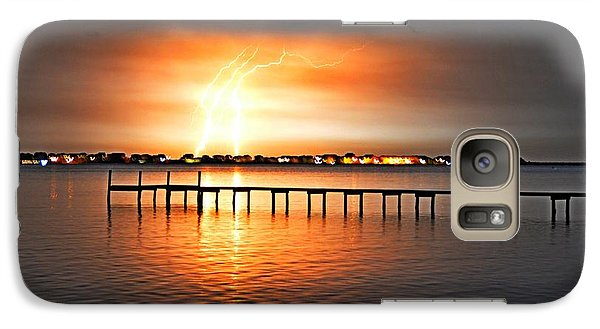 Galaxy Case featuring the photograph Awesome Lightning Electrical Storm On Sound by Jeff at JSJ Photography