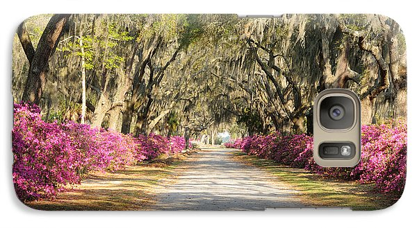 Galaxy Case featuring the photograph azalea lined road in Spring by Bradford Martin