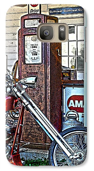 Galaxy Case featuring the photograph Aztec And The Gas Pump by Lesa Fine