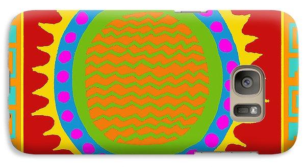 Galaxy Case featuring the digital art Aztec Del Sol by Vagabond Folk Art - Virginia Vivier