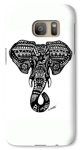 Aztec Elephant Head Galaxy S7 Case by Loren Hill