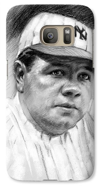 Galaxy Case featuring the drawing Babe Ruth by Viola El