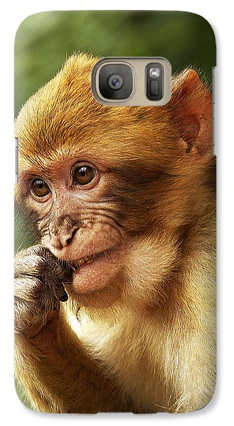 Galaxy Case featuring the photograph Baby Barbary Macaque by Selke Boris