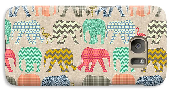 Baby Elephants And Flamingos Linen Galaxy Case by Sharon Turner
