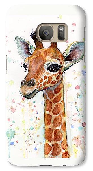 Baby Giraffe Watercolor  Galaxy Case by Olga Shvartsur