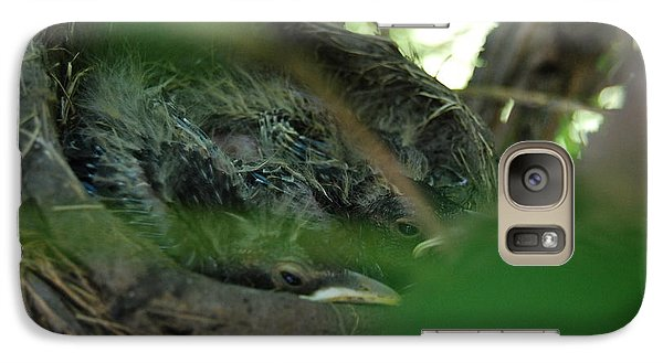Galaxy Case featuring the photograph Baby Robins Nesting by Ramona Whiteaker