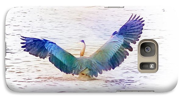Galaxy Case featuring the photograph Back Of Blue Heron by John  Kolenberg