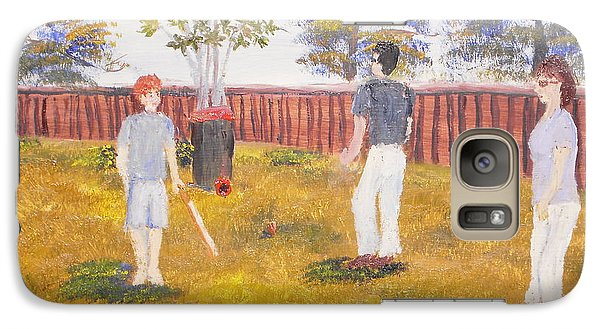 Galaxy Case featuring the painting Backyard Cricket Under The Hot Australian Sun by Pamela  Meredith
