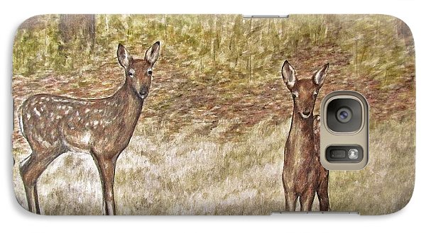 Galaxy Case featuring the drawing Backyard Fawns by Meagan  Visser