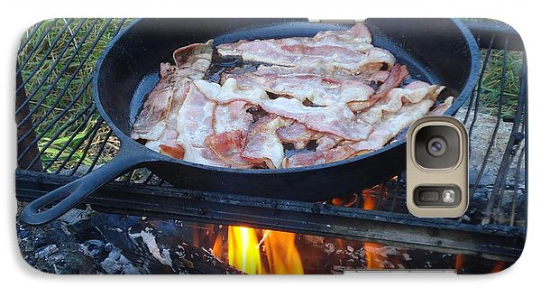 Galaxy Case featuring the photograph Bacon On The Campfire by Patricia Overmoyer