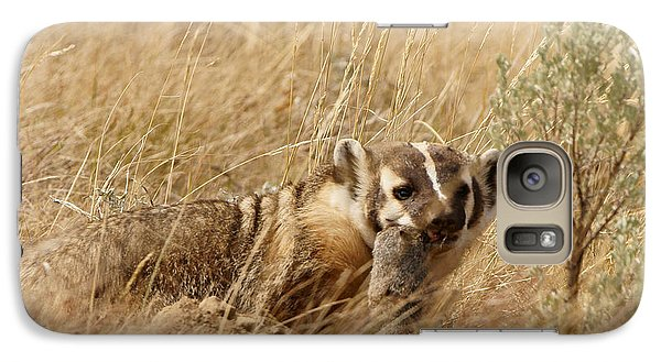 Galaxy Case featuring the photograph Badger With Prey by Jeremy Farnsworth