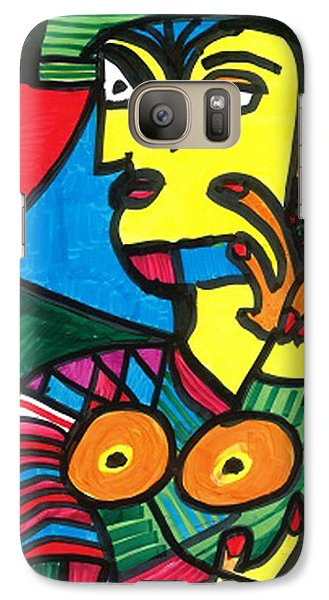 Galaxy Case featuring the drawing Bagel Lady by Don Koester
