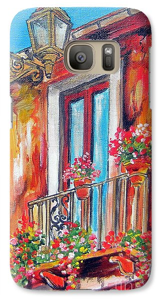 Galaxy Case featuring the painting Balcone Fiorito by Roberto Gagliardi
