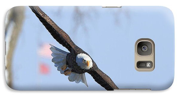 Galaxy Case featuring the photograph Bald Eagle And Flag by Coby Cooper