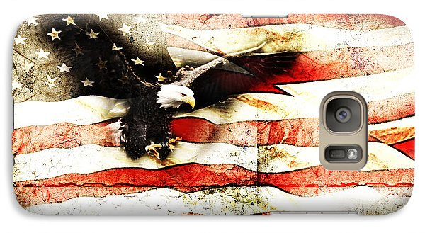Galaxy Case featuring the photograph Bald Eagle Bursting Thru Flag by Eleanor Abramson
