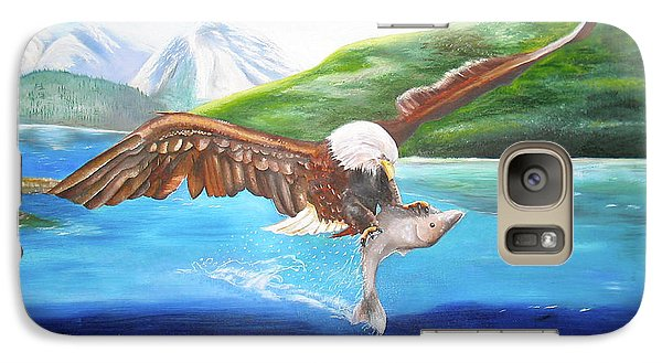 Galaxy Case featuring the painting Bald Eagle Having Dinner by Thomas J Herring