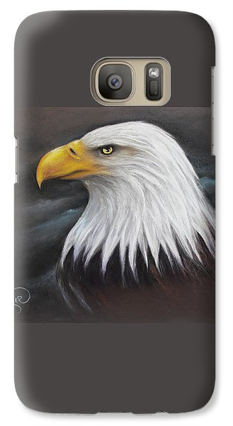 Galaxy Case featuring the drawing Bald Eagle by Patricia Lintner