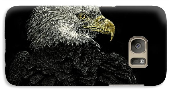 Galaxy Case featuring the drawing American Bald Eagle by Sandra LaFaut