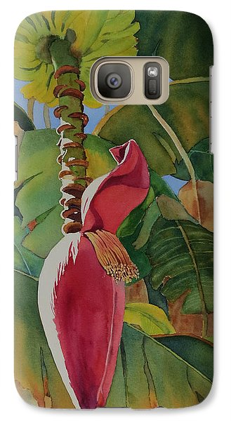 Galaxy Case featuring the painting Banana Beginnings by Judy Mercer