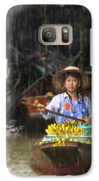 Galaxy Case featuring the photograph Banana Vendor In The Rain by Rob Tullis