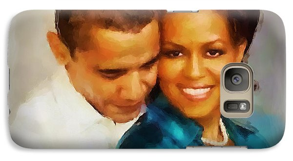 Galaxy Case featuring the painting Barack And Michelle by Wayne Pascall