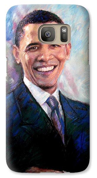 Galaxy Case featuring the drawing Barack Obama by Viola El