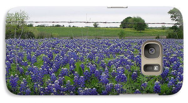 Galaxy Case featuring the photograph Barbed Wire Bluebonnets by Jerry Bunger