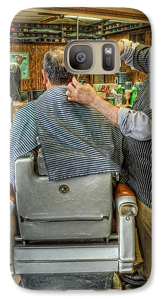Galaxy Case featuring the photograph  The Barber Shop Shave And A Haircut - Barber Shop by Lee Dos Santos