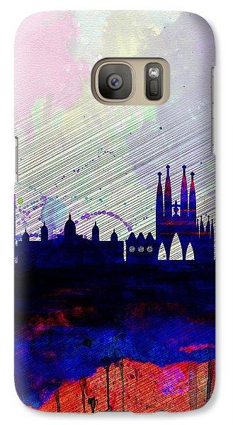 Barcelona Galaxy S7 Case - Barcelona Watercolor Skyline 2 by Naxart Studio