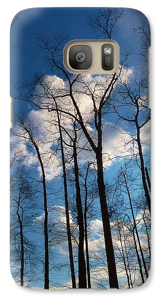 Galaxy Case featuring the photograph Bare Trees Fluffy Clouds by Jeanette Oberholtzer
