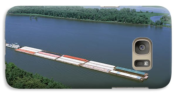 Marquette Galaxy S7 Case - Barge In A River, Mississippi River by Panoramic Images
