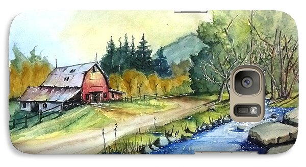 Galaxy Case featuring the painting Barn And Stream by Richard Benson