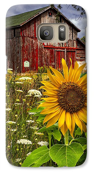 Sunflower Galaxy S7 Case - Barn Meadow Flowers by Debra and Dave Vanderlaan