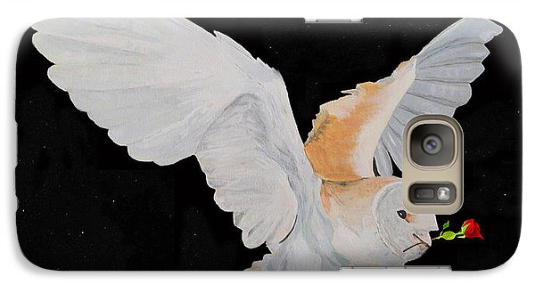 Galaxy Case featuring the mixed media Barn Owl With Rose by Eric Kempson