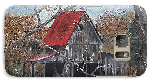 Galaxy Case featuring the painting Barn - Red Roof - Autumn by Jan Dappen