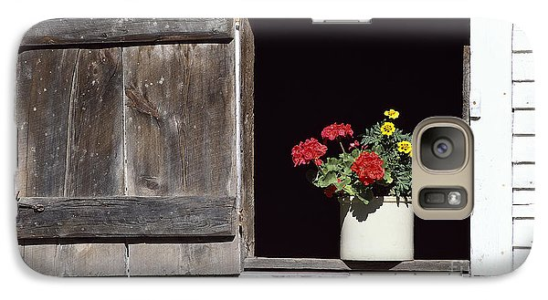 Galaxy Case featuring the photograph Barn Window Flowers by Alan L Graham