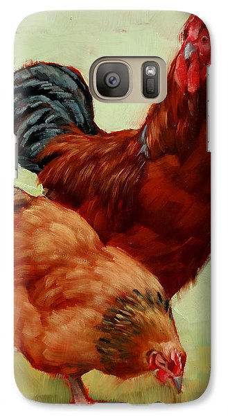 Galaxy Case featuring the painting Barnyard Buddies by Margaret Stockdale