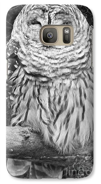 Galaxy Case featuring the photograph Barred Owl In Black And White by John Telfer