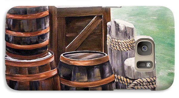 Galaxy Case featuring the painting Barrels On The Pier by Ellen Canfield